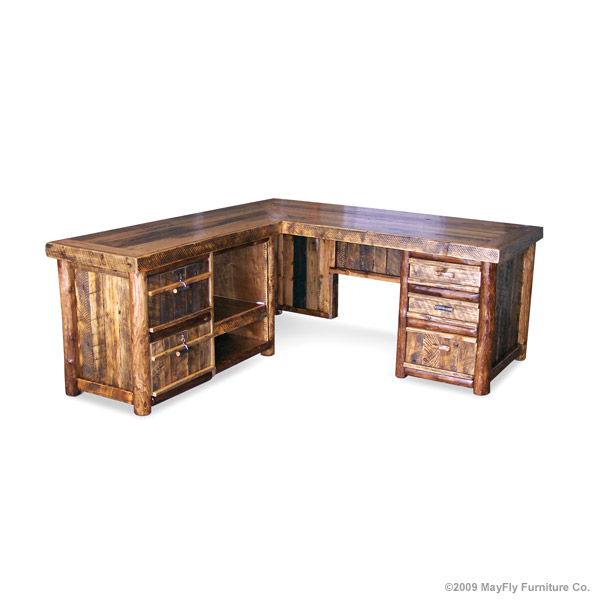 rustic executive desk - back view | mayfly furniture co.